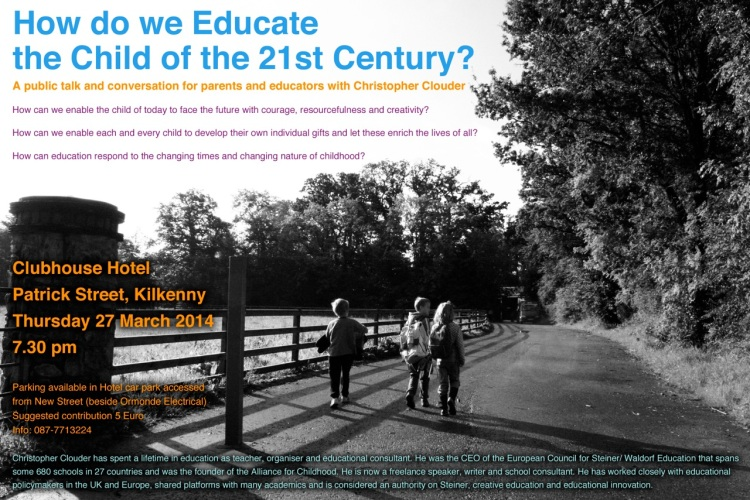 A public talk and conversation for parents and educators with Christopher Clouder.